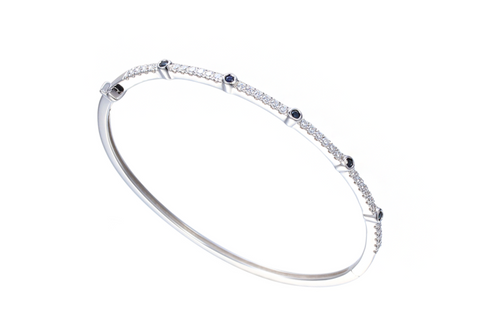 Sapphire and Cubic Zirconia Silver Bangle 9315S