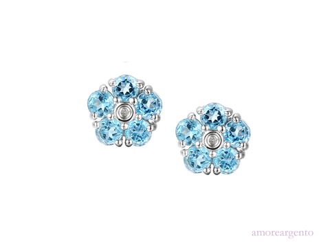 Blue Topaz and Cubic Zirconia Silver Studs 6039