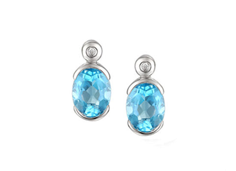 Blue Topaz and Silver Stud Earrings 6153