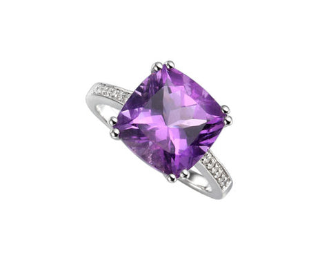 Amethyst and Cubic Zirconia Silver Ring 6230