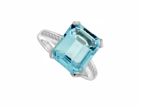 Blue Topaz, Cubic Zirconia Silver Ring 6237