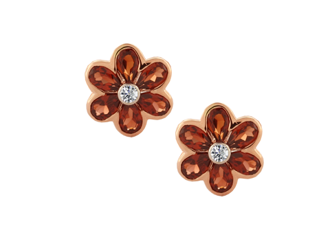 Garnet and Diamond Rose Gold Flower Studs 6782