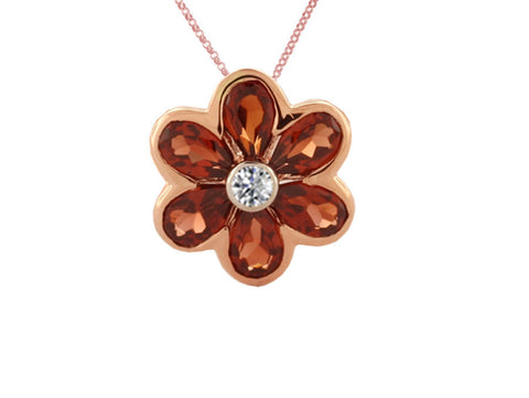 Garnet and Diamond Rose Gold Flower Pendant 6783RDGT
