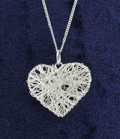 Silver Wire-Work Heart Pendant 68464