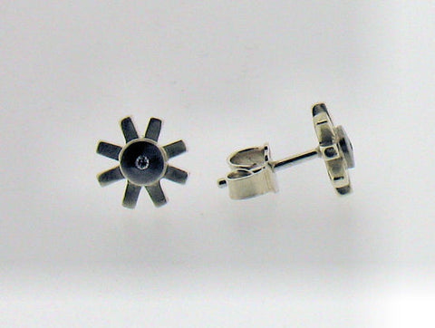 Diamond, Silver and Palladium Stud Earrings 7160