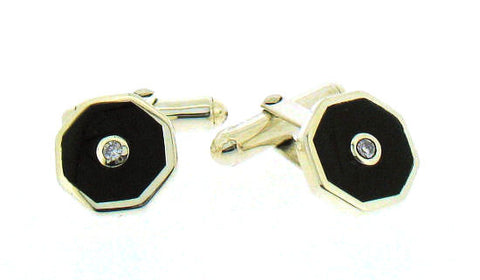 Silver, Jet & Diamond hexagonal cufflinks 75187