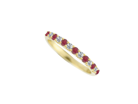Ruby and Diamond Gold Eternity Ring 7553