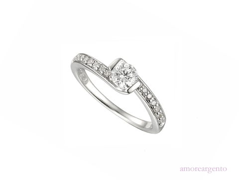 Cubic Zirconia and Silver Ring 7586