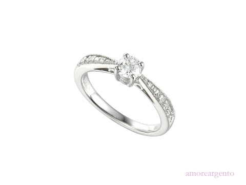 Cubic Zirconia and Silver Ring 7597