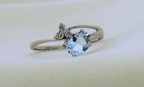 Aquamarine and Diamond White Gold Ring No78