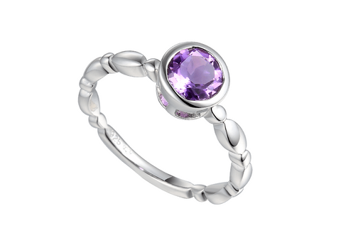 Amethyst and Silver Ring 9294