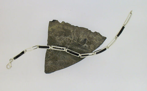 Whitby Jet and Silver Bar Bracelet 83189