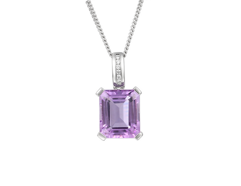 Amethyst and Silver Pendant on Chain 6239