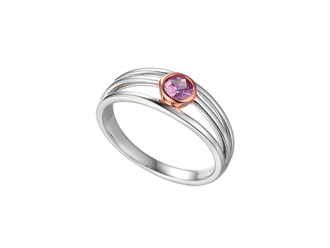 Sapphire (Pink) and White Gold Ring 8541