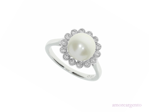 Pearl and Cubic Zirconia Silver Ring 9013