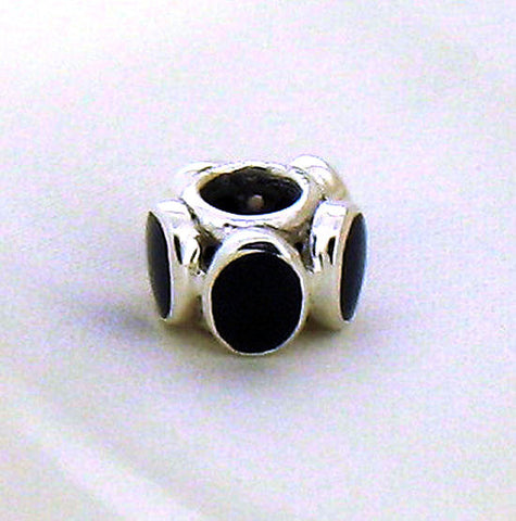 Silver & Whitby Jet Charm Bead 90191WJ