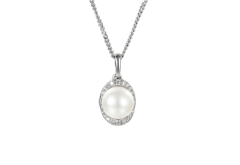 Pearl and Cubic Zirconia Silver Pendant 9028