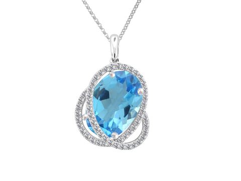 Blue Topaz and Cubic Zirconia Silver Necklace 9032