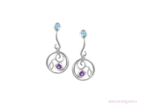 Blue Topaz and Amethyst Drop Earrings 9036