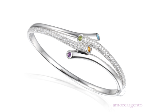 Multi stone Tutti Frutti Silver Bangle 9054