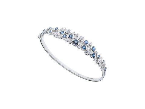 Blue Topaz and Cubic Zirconia Silver Bange 9059