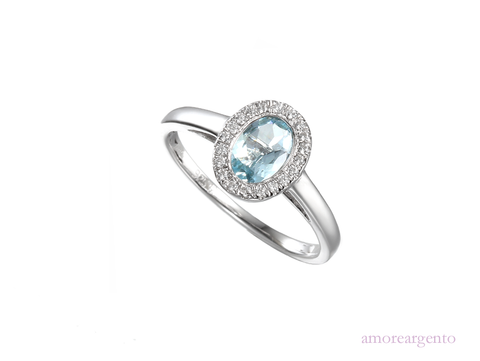 Aquamarine and Cubic Zirconia Silver Ring 9067