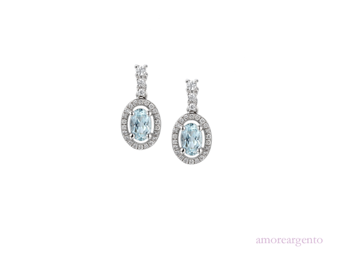 Aquamarine and Cubic Zirconia Drops 9069