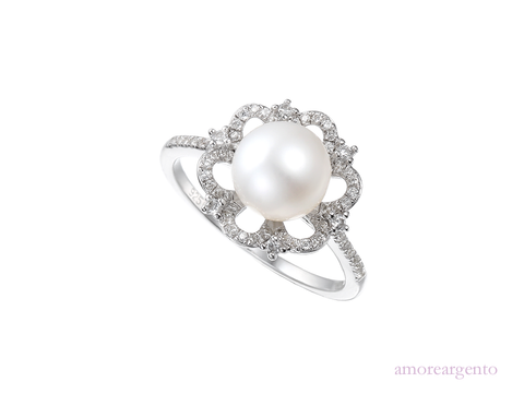 Pearl and Cubic Zirconia Silver Ring 9071