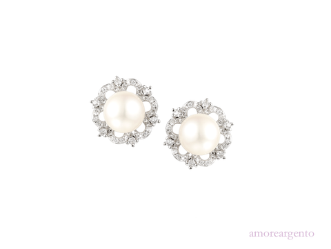 Pearl and Cubic Zirconia Studs 9072