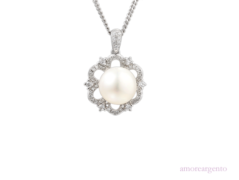 Pearl and Cubic Zirconia Silver Pendant 9073