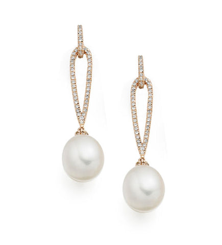 Pearl and Cubic Zirconia Silver Drop Earrings 9084