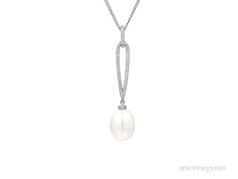 Pearl and Cubic Zirconia Silver Pendant 9084P