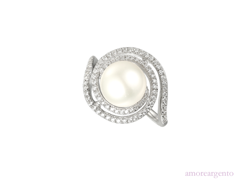 Pearl and Cubic Zirconia Silver Ring 9087