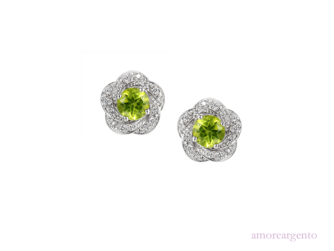 Peridot and Silver Stud Earrings 9094
