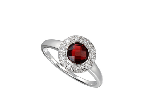 Garnet and Cubic Zirconia Silver Ring 9096