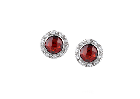 Garnet and Cubic Zirconia Silver Studs 9097