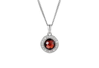 Garnet and CZ Silver Pendant 9098