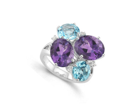 Amethyst, Blue-Topaz and CZ Silver Ring 9110