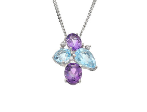 Amethyst, Blue-Topaz and CZ Silver Necklace 9111