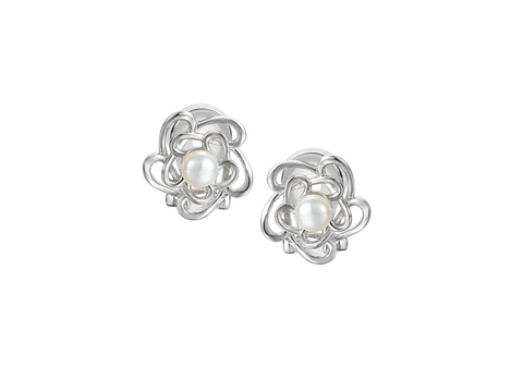 Pearl and Silver Clip Studs 9116