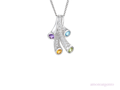 Multi stone Tutti Frutti Silver Necklace 9131