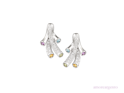 Multi Stone Tutti Frutti Silver Earrings 9132