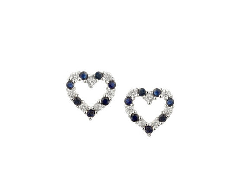 Sapphire and Cubic Zirconia Heart Stud Earrings 9136s