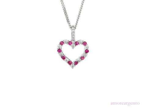 Ruby and Cubic Zirconia Silver Pendant 9137