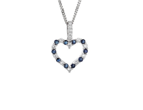Sapphire and Cubic Zirconia Heart Necklace 9137s