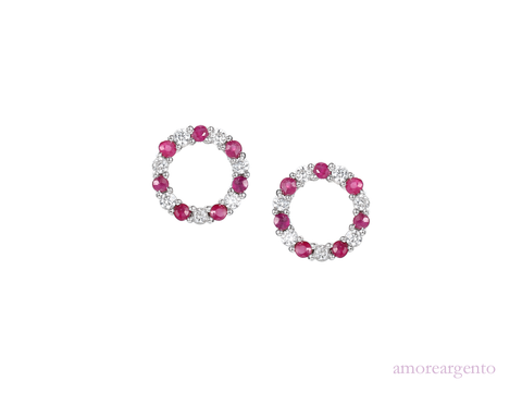 Ruby, Cubic Zirconia and Silver Stud Earrings 9138