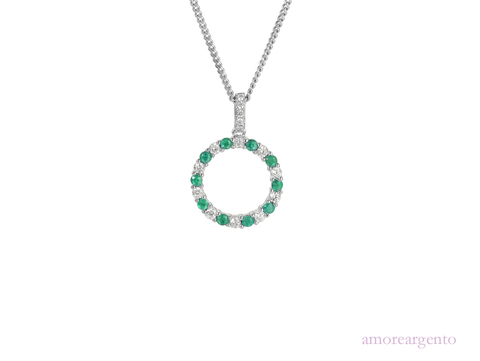 Emerald and Cubic Zirconia Silver Necklace 9139