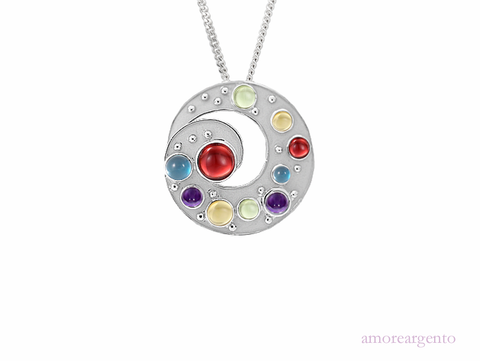 Multi Stone Jelly Bean Silver Necklace 9142