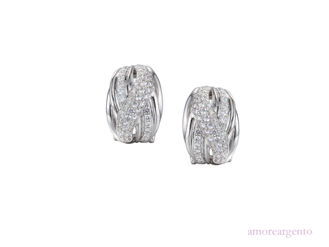 Cubic Zirconia and Silver Clip Studs 9160