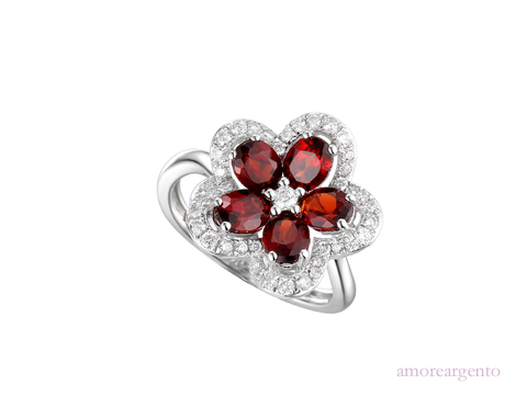 Garnet and Cubic Zirconia Silver Ring 9167